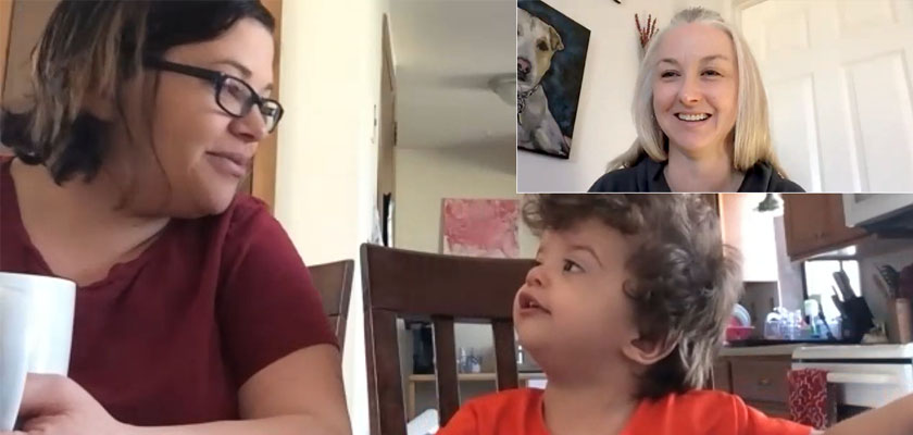 Woman and son engage in a video visit with a speech language pathologist