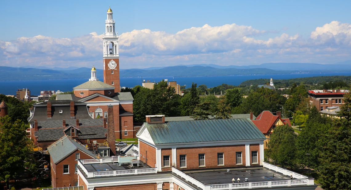 View of Burlington rooftops and bell tower