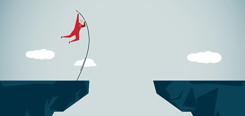 Illustration of a person pole jumping over a canyon gap.