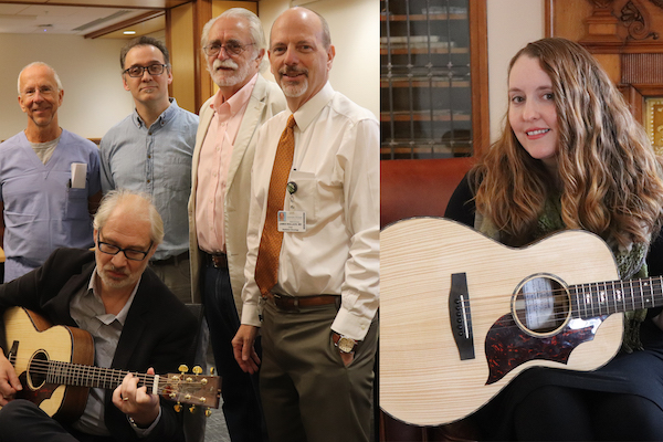 Collage of photos of UVM Medical Center staff holding guitars.