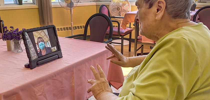 Helen Porter Resident Ann Sullivan on video call