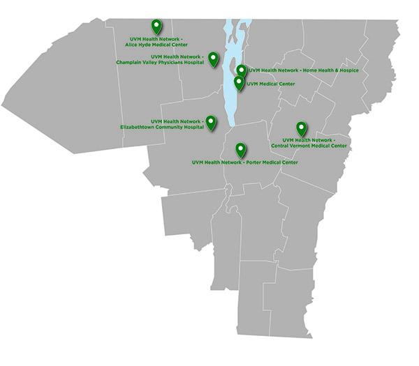 UVM Medical Center Partners map
