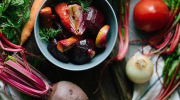 Close up of root vegetables.